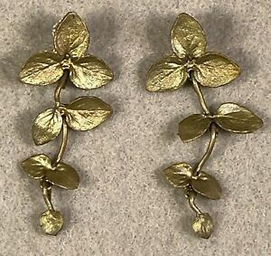 Vintage Michael Michaud Retired Leaf Earrings Bronze and Sterling Silver