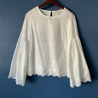Petal Roz Eyelet Bell Sleeve Top Women's Size Small Cottage Core Feminine White