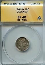 1901 O 10c Anacs Ef 40 Details (Xf, Extra, Extremely Fine) Barber Dime