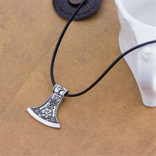 Gothic Nordic Axe Viking Amulet Rune Men Tibetan Silver Cord Necklace Jewelry