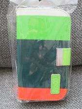 SAMSUNG GALAXY S3 SIII I9300 PHONE CASE FLIP COVER COOL COLOURS GREEN & ORANGE