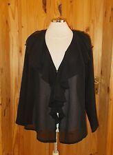 H&O black chiffon frill STEAMPUNK VICTORIANA long sleeve tunic top BNWT 12 40
