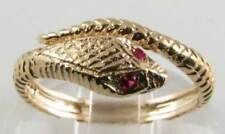 UNUSUAL 9K 9CT GOLD INDIAN RUBY COILED SNAKE ART DECO INS RING FREE RESIZE 999
