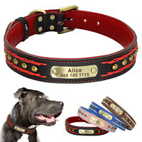 Studded Braided Leather Personalized Dog Collar with Custom Engraved Name Tag