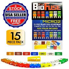 BioFuse® Micro2 15 Piece Assorted Fuse Pack: Set of 14 Blade Fuses + Fuse Puller