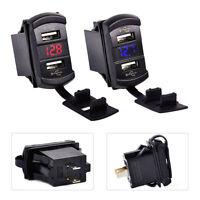 Neu 12V-14V Auto Schwarz Voltmeter USB LadegerAt Dual USB Buchse Spannungsmesser