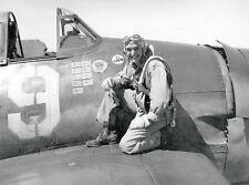 WWII Photo F6F Hellcat Ace Alex Vraciu US Navy  WW2 B&W World War Two / 5120