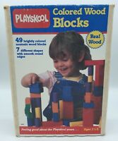 Vtg 1974 Playskool Colored Wood Blocks Building Toy with Box