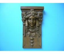 CAPITELLO-MENSOLA IN GESSO -Volto Donna Liberty- (Colorato effetto bronzo)