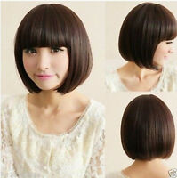 New Short Sexy Cosplay Ladies Fashion Straight Wig Bob Wigs Brown/Black + Cap