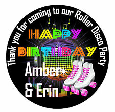 24 Personalised Birthday Roller Disco Themed Sticker Labels Thank You Message