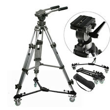 Heavy Duty Video DV Camera Tripod w/ Handle Folding Tripod Dolly Wheels w/ case