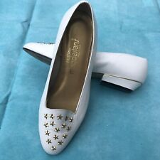 California Magdesians Vintage White Flats Gold Studded Stars Shoes Size 8 W USA