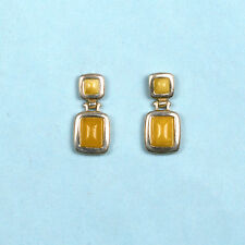 BALTIC AMBER POST EARRINGS STERLING SILVER- HAND CRAFTED  (23MM X 10MM)