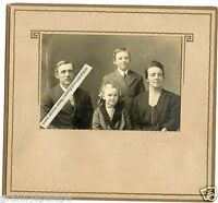 Antique Matted Photo - Man, Lady, 2 Children - KRUSE Family, Fred, Matie, Anna &