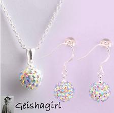 Boda Arco Iris Cristal Shamballa pendiente de plata 925 Conjunto Collar Cadena Joyería