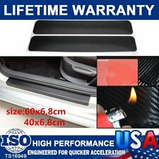 4Pcs Carbon Fiber Car Door Plate Sill Scuff Cover Anti Sticker Scratch Protector