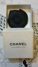 Brooch Pin Fabric France With Box Vintage Authentic Chanel Black Camellia Flower