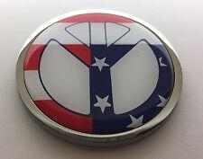 "USA FLAG PEACE 3D Domed Emblem Badge Car Sticker METAL Chrome Bezel 3 3/8"""