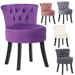 Bedroom Velvet/Linen Button Dressing Chair Cushiony Seat Piano Stool Wooden Legs