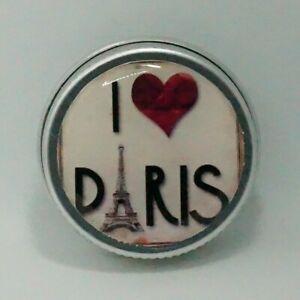 MINI 15ML ROUND DECORATIVE TIN GIFT LIP BALM EARRINGS RINGS PARIS FRANCE LOVE