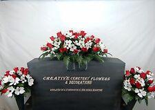 Memorial Cemetery Silk Flower Headstone/Tombstone Saddle+vase bushes