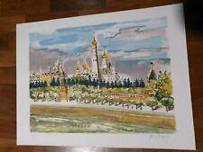 Yves BRAYER Lithographie originale signee Russie le kremlin