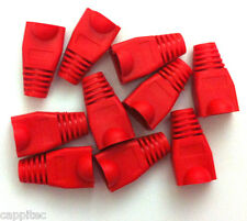 PACK OF 10 RED RJ45 SNAGLESS NETWORK CABLE PLUG HOODS BOOTS CAT5e CAT6