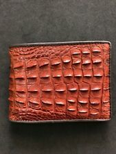 Red Brown Genuine Alligator Crocodile Skin Leather Men's Bifold Wallet