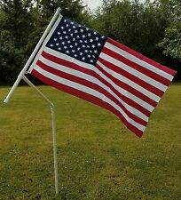 """Rotating 3/4"""" PVC Flag Pole with U.S. Flag. Camping, RVing, Tailgating"""