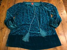 SUNDANCE Women's Blue Silk Burnout Velvet Poet Leaf Tunic Top- Medium- Ret $128
