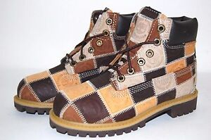 Timberland Patchwork Brown 19727 Youth Preschool Boots Shoes