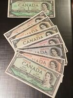 ➡➡1954 GORGEOUS FULL 7 LOT bill Bank Canada $1,2,5,10,20,50,100! Circ->EF++GIFT