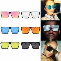 Oversize Square Frame Flat Top Metal Sunglasses Retro Women Men Eyewear Fashion