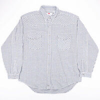 Vintage LEVI'S Blue & White Checked Flannel Casual Shirt Size Men's XL