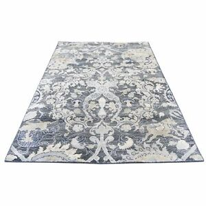 """4'x6'3"""" Hand-Knotted Silk With Oxidized Wool Hunting Design Oriental Rug R43222"""