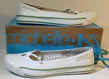 MICHELLE K 32216 Womens Enthrall Shoes Leather Slip On Flats White Green size 6