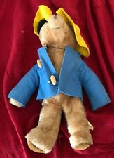 "Vintage  Eden Paddington Bear Stuffed Animal Blue Coat Yellow Hat 14"" CUTE!"