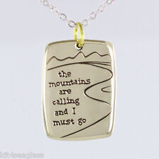 """Far Fetched - The Mountains are Calling and I Must Go - NECKLACE 16-18"""" Chain"""