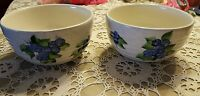 NEW ♡  SET of 2 ♡ HANDPAINTED POTTERY  MAINE BLUEBERRIES ♡ SOUP CEREAL BOWLS
