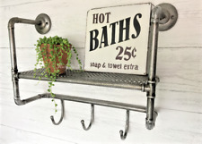 Industrial Pipe Metal Wall Shelf Unit Urban Bathroom Rack Hooks Vintage Style