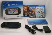 Used PS Vita Console Black PCH-2000 Wi-Fi w/ Charger Box 3Games set Japan PSVITA