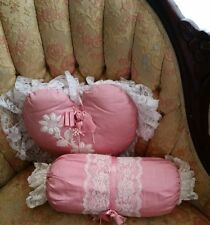 Victorian Moire Silk pillows pink/white lace heart/neck roll set of 2 home decor