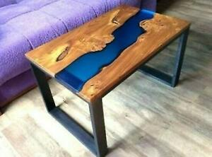 Blue Epoxy Table Wooden Walunt Living Dining Furniture Custom Order Decorative