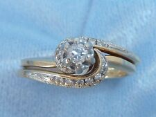 Vintage 14K Yellow Gold Wedding/Engage 3mm Diamond, 12 accents TCW .20 size 6.5