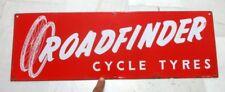 Vintage Old Rare Original Road Finder Cycle Tyre Ad Porcelain Enamel Sign Board
