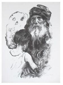 """WITH GRANDPA"" BY SANDU LIBERMAN SIGNED LITHOGRAPH AP BLACK & WHITE CoA 30 X 22"