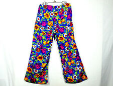 Vtg 70s Floral Pants L/XL Vivid Color Bell Bottom High Waist Home Made 34w 27i