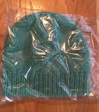NWT J Crew Women's Cable Hat Cap In Italian Wool Blend Heather Emerald #F8731