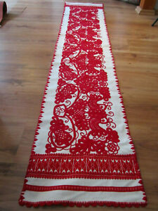 "Hungarian Traditional Hand Embroidered Kalotaszeg Irasos Tablecloth Runner 75"""